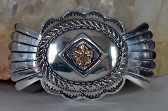 Richard Stump Western Belt Buckle in sterling and 14K gold.